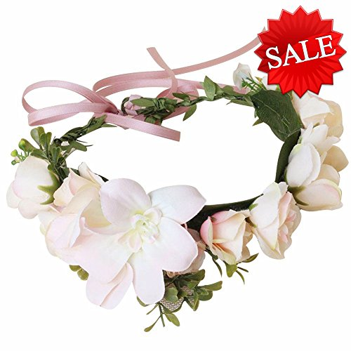 YUNF Flower Wreath Headband Floral Crown Garland Halo With Floral Wrist Band Set for Wedding Festivals and Maternity (Big Flower-12)