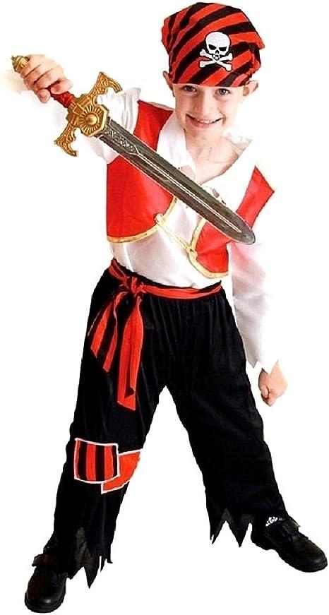 Vestido de carnaval de pirata incluye: pantalón camisa bandana y cinturón Idea disfraz niños talla XL 7-8 años: Amazon.es: Bebé