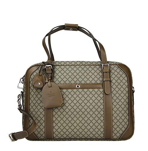Gucci Unisex Briefcase Beige/Brown Diamante Leather Trim 267898 9788