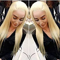 AllHairz Full Lace Wigs Human Hair Wigs 613 Blonde Wigs 150 Density Silky Straight With Baby Hair 100% Brazilian Human Remy Hair Glueless Wig (14 Inches)