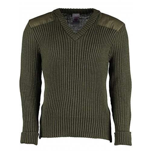 (York Woolly Pully Vee Neck Sweater with Patches OD - XL)