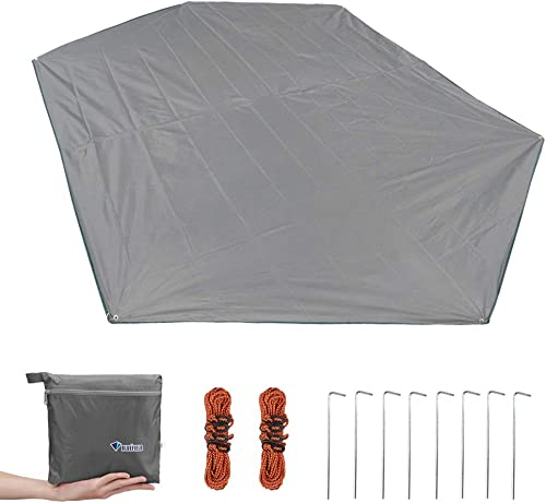 MAGARROW Tent Tarp Hexagonal Canopy Ground Sheet Shelter Sunshade and 6-Pack Tent Guide Rope 8-Pack Tent Stakes for Camping Hiking Backpacking