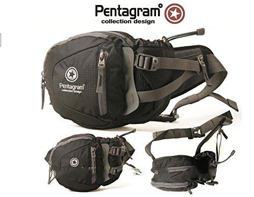 Borsa Nero–Pentagram Geocaching tasca sul petto, Wimmerl, Marsupio, cintura, con spazio per GPS, cellulare e utensili, Mutlitool ecc.