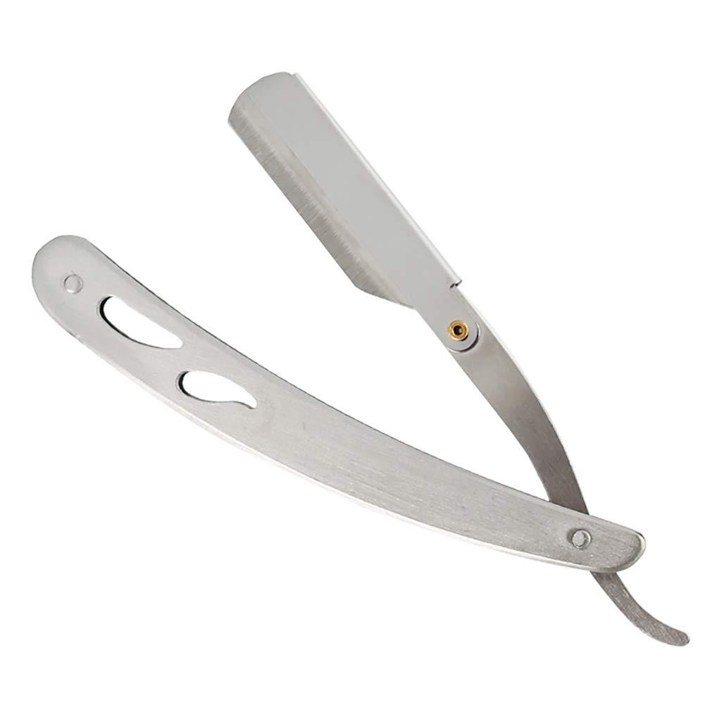1pc acciaio inossidabile bordo diritto barbiere rasatura rasoio argento pieghevole rasoio singolo bordo sostituibile lame Hilai