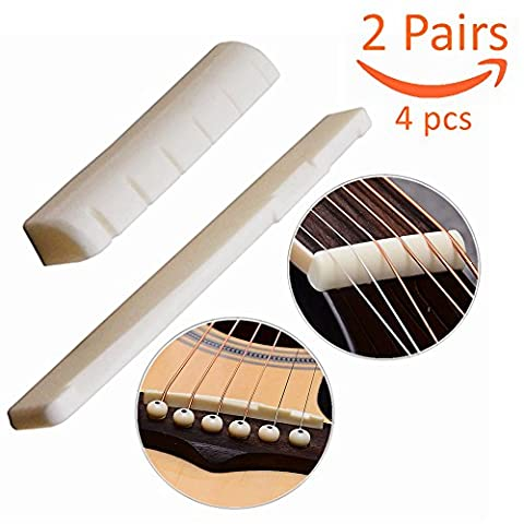 Luvay 2 Pairs of 4pcs Acoustic Guitar (6 Strings) Bone Bridge Saddle and Nut, Made of Real Cattle - Acoustic Classical Guitar Bridge