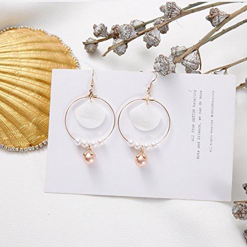 usongs Your girl vintage brass pearl shell earrings handmade earrings minimalist earrings exaggerated no pierced ear clip