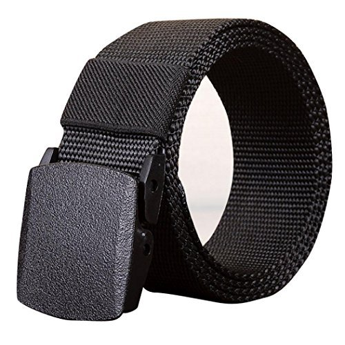 Mens Belt! Charberry Canvas Belt Outdoor Sports Nylon Waistband Canvas Web Belt Dazzling (130, Black) from Charberry