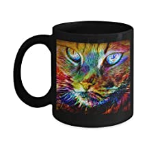 Grumpy Cat Coffee Mug - Best Gift for a Cat Lover - Dishwasher Safe Ceramic Great Quality Tea and Coffee 11 oz. Angry Cat Black Cup - Ideal Gift For All Who Love Cats