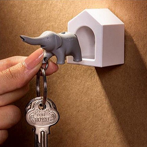 Elephant Key - Elephant Wall Key Holder by Qualy Design Studio. White Color Elephant Home and Grey Elephant Key Fob. Cool Home Design Item. Unusual Gift.