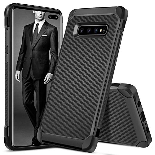 Fiber Galaxy Carbon - S10 Plus Case,Galaxy S10 Plus Case Carbon Fiber,DUEDUE Dual Layer Slim Hybrid Shock Absorbing Cover Hard PC Bumper Rugged Back Case for Samsung Galaxy S10 Plus/S10+ 6.4'' for Men and Boys(2019), Black