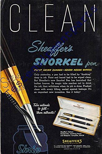 Price comparison product image Print Ad 1953 Sheaffer's Snorkel Pen