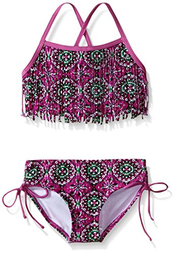 Kanu Surf Big Girls Hannah Fringe Bikini Swimsuit, Purple, 12