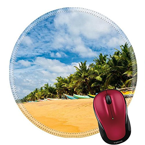 Sri Lanka Landscape (Liili Round Mouse Pad Natural Rubber Mousepad IMAGE ID: 9533110 Fishing boats resting on empty beach in Sri Lanka)