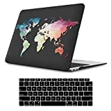 iLeadon MacBook Air 13 Inch Case 2018 Release A1932, Soft Touch Ultra Thin Hard Shell Cover for Apple Newest MacBook Air 13 Inch with Retina Display fits Touch ID, Black Map