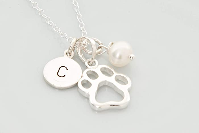93dce7576fdbd 925 Sterling silver Paw print personalised pet memory necklace ...
