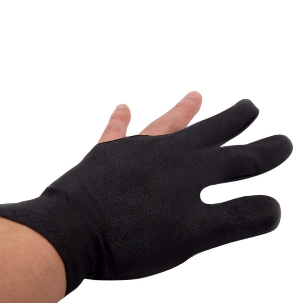 ShenPourtor Spandex Snooker 3 Finger Billiards Gloves Pool Cue Gloves Black