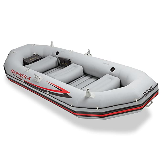 d4d0dfda61c Amazon.com : Intex Mariner 4, 4-Person Inflatable Boat Set with Aluminum  Oars and High Output Air Pump (Latest Model) : Open Water Inflatable Rafts  : Sports ...