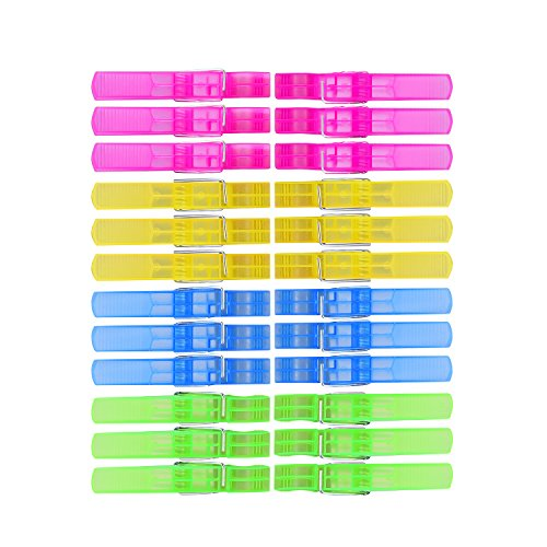TtoyouU Clear Plastic Clothespins Colored Clothes Pins Clips Pegs 48pcs Assorted Colors(Blue/Yellow/Green/Hot Pink) by TTOYOUU (Image #2)