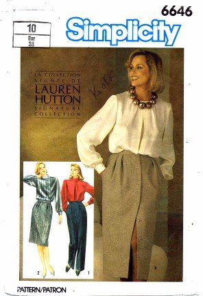 (Simplicity 6646 Sewing Pattern Lauren Hutton Skirts & Pants Size 10 - Waist 25 )