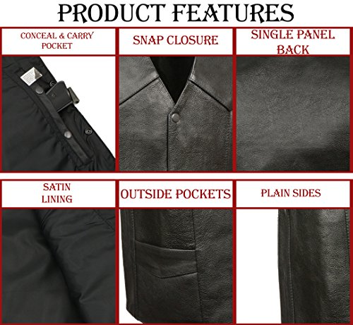 M-BOSS MOTORCYCLE APPAREL-BOS13513-BLACK-Men's Basic concealed carry biker leather vest.-BLACK-40 by M-BOSS MOTORCYCLE APPAREL (Image #3)