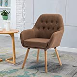 GOTMINSI Stylish Fabric Leisure Chair Tufted Button Back Accent Chair with Natural Wood Legs(Brown)