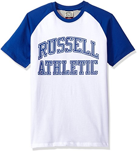 Russell Athletic Heritage Men's Pro Block Iconic Arch Raglan T-Shirt, Royal, XL - Russell Pro Cotton