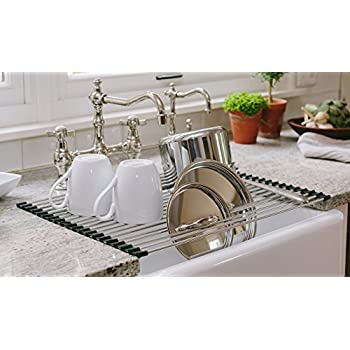 Over The Sink Rollable Dish Drying Rack, Best Large Foldable, Rollup, Easy  To