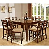 Cheap HOMES: Inside + Out IDF-3111PT-9PC Terri 9 Piece Mission Style Counter Height Table Set with 18″ Expandable Leaf, Antique Oak