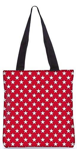 """Snoogg Weißen Sternen Rotes Muster-Einkaufstasche 13,5 X 15 In """"Einkaufstasche Dienstprogramm Trage Von Polyester Canvas"""