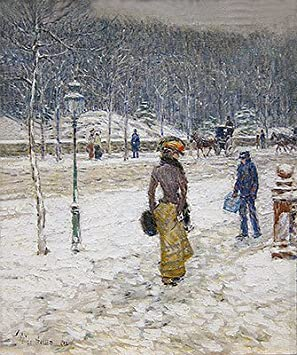 Childe Hassam New York Street, 1902 Canvas Art Print Reproduction 21.7×18.1 in 55×46.1 cm