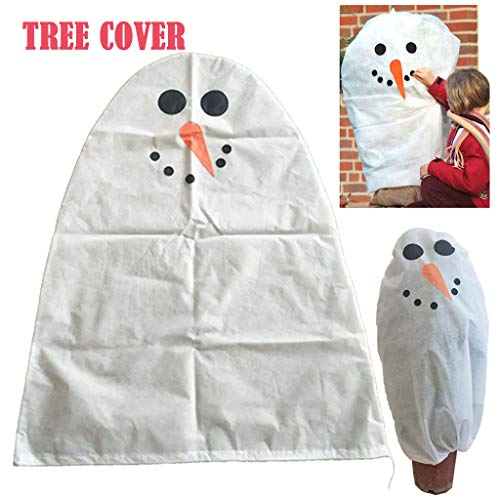 Flurries Cartoon Christmas Tree Cover – Winter Warm Plant Wrap Blanket – Fabric Freeze Bag Protector for Cold Weather – 3D Cone Shape Shrub Jacket for Season Extension and Frost Protection (Carrot)