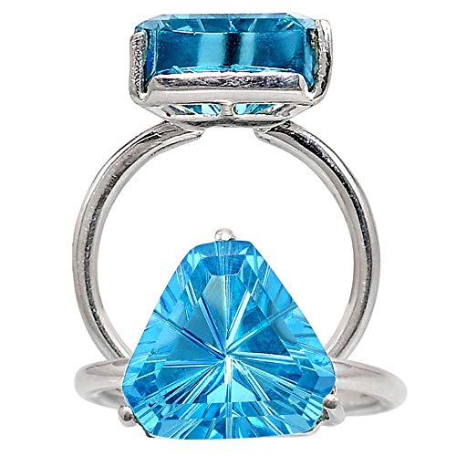 Desiregem Aquamarine Lab Created 12x12 MM Trillion Shape 925 Sterling Silver Ring Jewelry Size 6-10 DGR1093_C