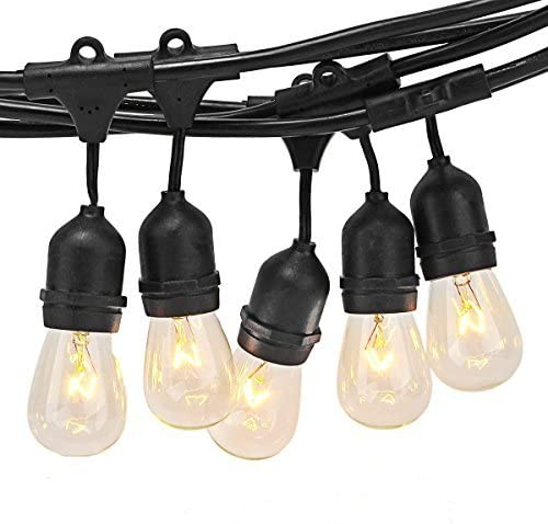 ZITRADES Outdoor String Lights 48ft, S14 Commercial Patio Lights – UL Listed, 15 Bulbs of E27 E26 Base for Backyard Vintage