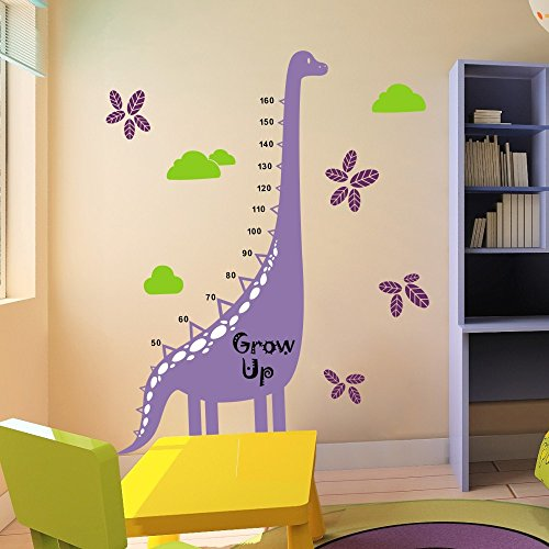 Vinyl Height Growth Chart Decal Height Chart Wall Stciker Growth Chart Wall Decor Wall Graphic Wall Mural Kid Room Decor 3(dinosaur:Hydrangea Purple;stripe,toes:White;words,numbers:Black;leaves:Violet;clouds:Lime-tree Green)