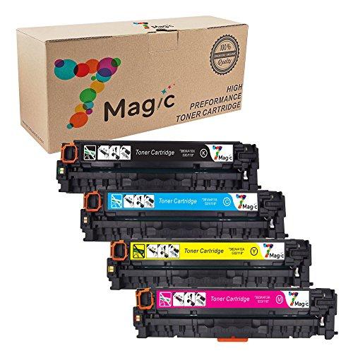7Magic Compatible Toner Cartridge Replacement for 305A CE410X CE411A CE412A CE413A Use in Laserjet Pro 300 Color MFP M375nw, Laserjet Pro 400 Color M451dn M451nw M451dw MFP M475dw M475dn (KCYM, 4pk)