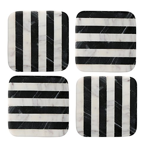Thirstystone NMCH004 Old Hollywood Square B&W Striped Marble Coasters (Set of 4), Multicolor