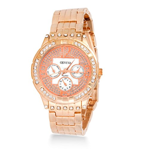 Gold Tone Floating Crystal Watch - 9