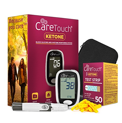 Care Touch Ketone Testing Kit - Ketone Meter w Strip Ejection, 50 Ketone Blood Test Strips, 10 Lancets, Lancing Device, Carrying Case for Diabetics and Ketogenic, Paleo, Atkins Diet