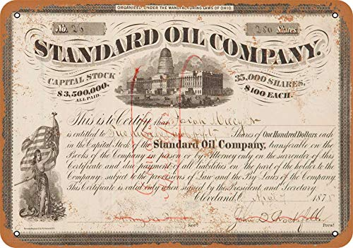 Wall-Color 7 x 10 Metal Sign - Certificate Art - 1875 Standard Oil Company Stock - Vintage Look