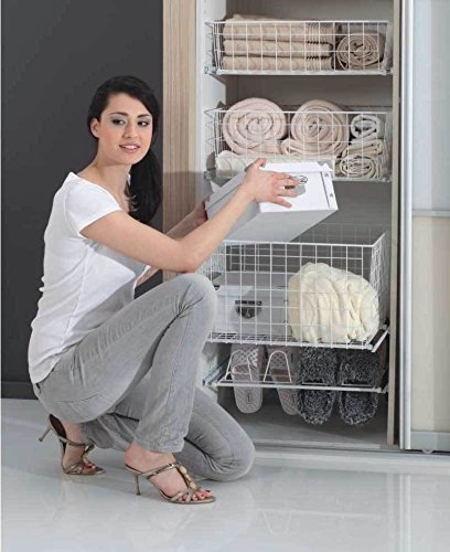 Pull Out Wire Basket Drawer MD Wardrobe Fitting Accessories Width - 400mm (White, C-200mm Height) by REJS