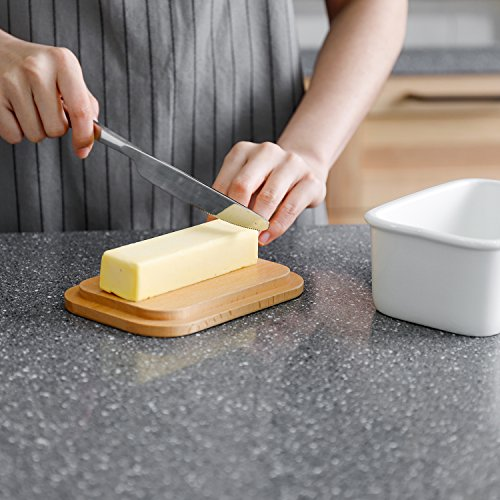 Sweese 3157 Large Butter Dish - Porcelain Keeper With Beech Wooden Lid, Perfect for 2 Sticks of butter, White by Sweese (Image #4)