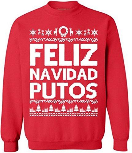 Awkwardstyles 2017 Ugly Christmas Sweaters Red 4XL Feliz Navidad Putos -