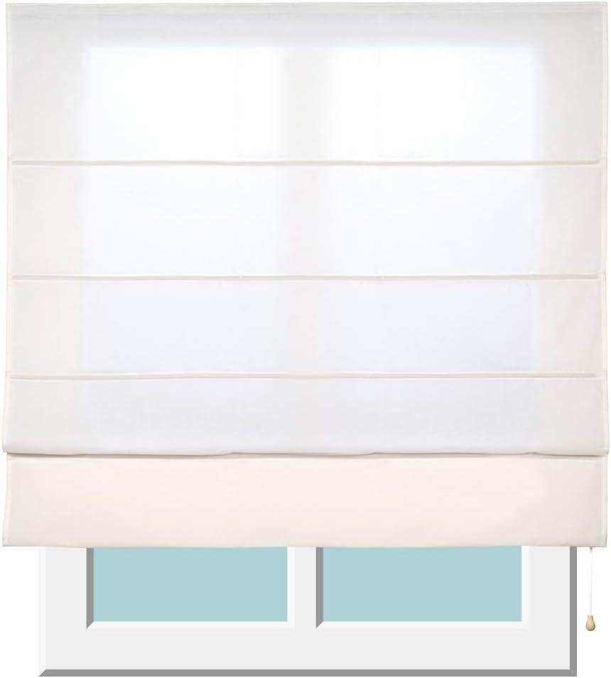 Stores Deco Estor Plegable con Varillas, Estor translúcido para Ventanas y Puertas (150 cm x 250 cm, Crudo)