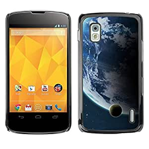 Qstar Arte & diseño plástico duro Fundas Cover Cubre Hard Case Cover para LG Google NEXUS 4 / Mako / E960 ( Earth Moon Distant View Blue Planet Space)