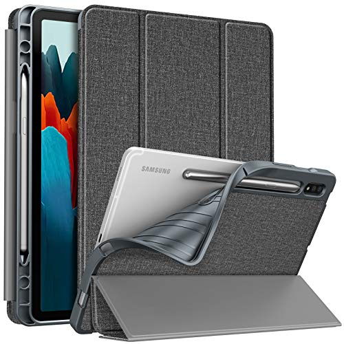 Fintie Slim Case for Samsung Galaxy Tab S7 11'' 2020 (Model SM-T870/T875/T878) with Built-in S Pen Holder, Soft TPU Smart Stand Back Cover Auto Wake/Sleep Feature, Gray