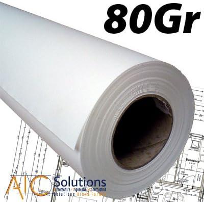 Rollos papel localizador blanco CAD 80 gr A1 610 mm x 50 m (cartón de 4): Amazon.es: Oficina y papelería