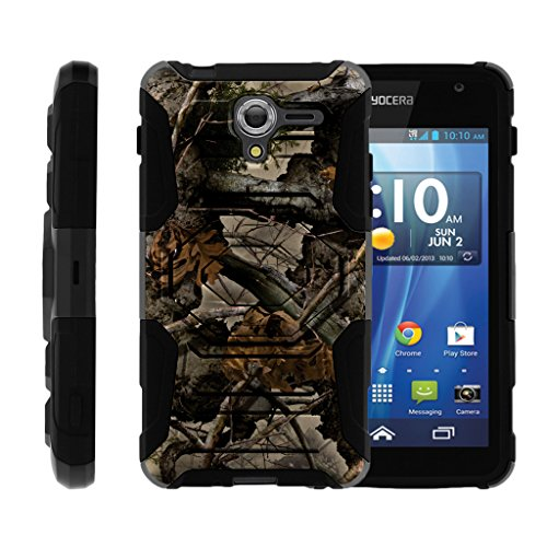 hot sale TurtleArmor | Kyocera Hydro View Case | Hydro Reach Case | Hydro Shore Case [Octo Guard] Dual Layer Case Holster Belt Clip Sturdy Kickstand Cover - Tree Leaves Camouflage