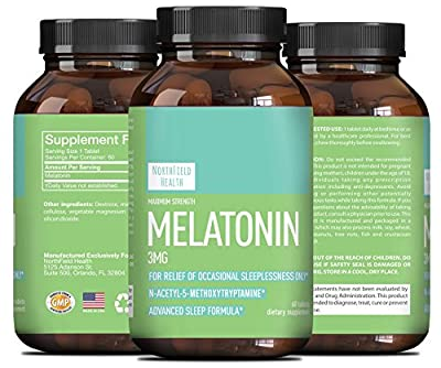 Melatonin 3 mg Sleep Aid Pills- Vitamins Tablets- Natural Calm + Relaxation And Stress Reduction . For Men & For Women & For Teens-Dietary Supplement - 100% Pure - Made Naturally By Northfield Health