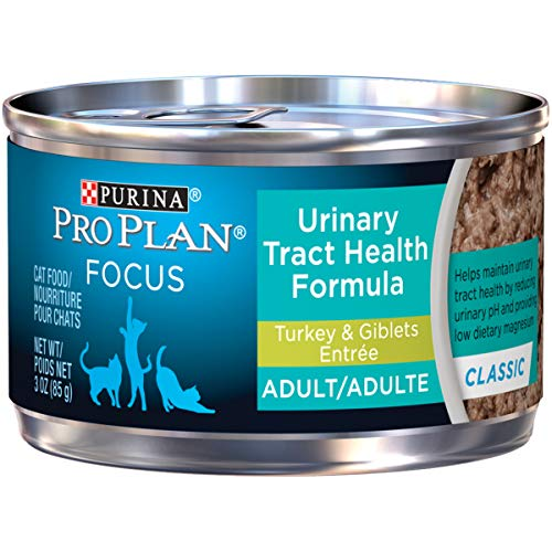 Purina Pro Plan Urinary Tract Health Pate Wet Cat Food; FOCUS Urinary Tract Health Formula Turkey & Giblets Entree - (24) 3 oz. Pull-Top Cans