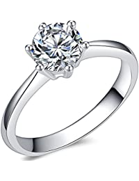 1.0 Carat Classical Stainless Steel Solitaire Engagement Ring